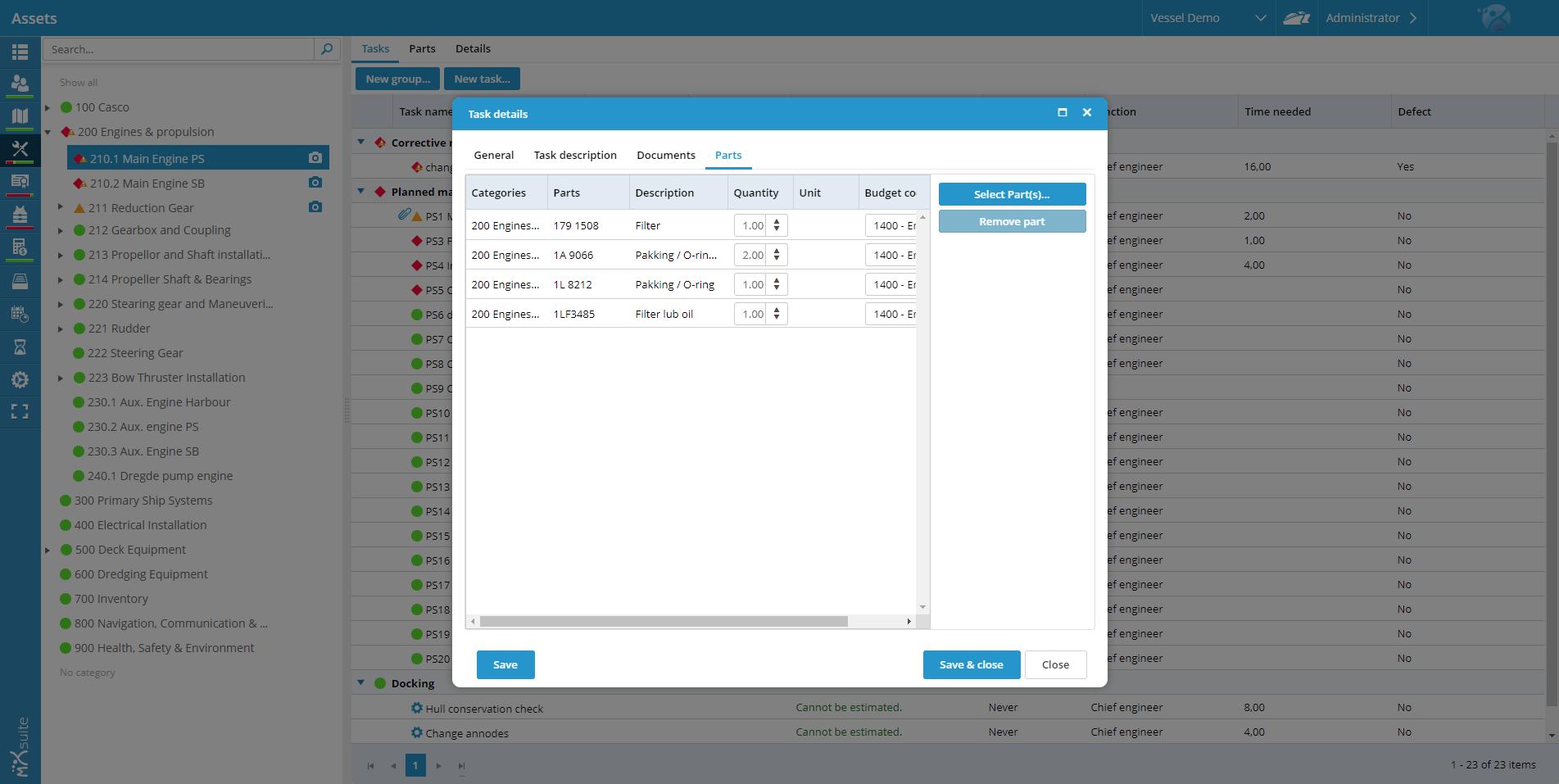 Assets Task Details Parts